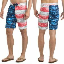 """NWT Vineyard Vines Mens 42"""" Board Shorts Swim Suit Stars and Bars Flag Red Blue"""