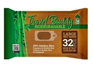 Large Biodegradable Body Wet Wipes Camping, Festivals, Backpacking