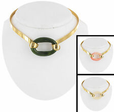 Interchangeable Faux Jade Coral Necklace Choker Vintage