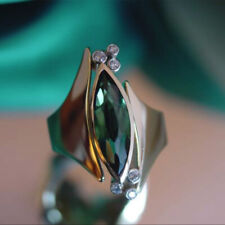 Gorgeous Women 14k Rose Gold Plated Marquise Cut Emerald Wedding Ring Sz 6-10