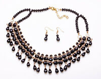 ADJUSTABLE TIERED BLACK BEAD NECKLACE WITH GOLD TONE CHAIN AND EARRINGS (CL29)