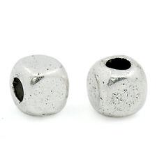 200 HOT Moda Charms Distanziatori Perle Perline Cubo Argento Antico 4x4mm