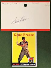 1958 TOPPS GENE FREESE #293 AUTOGRAPHED 3X5 INDEX D2013 PITTSBURGH PIRATES