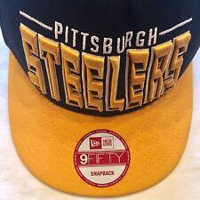 9Fifty Pittsburgh Steelers Snapback Hat New Era Football Cap NFL Raised Letters