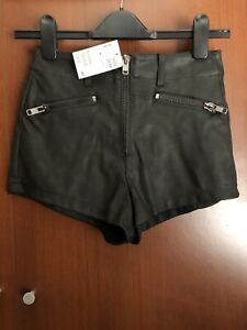 H&M FAUX LEATHER SHORTS WITH ZIPS. SIZE 6. NEW WITH TAGS.