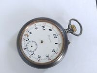 BIG 51MMS LONGINES GUNMETAL POCKET WATCH FROM Ca 1910 FOR REPAIR / PARTS