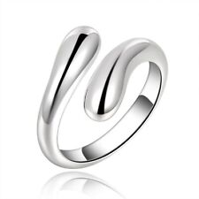 925 Sterling Silver Plated Tear Drop Adjustable Ring Thumb Finger Band +Bag