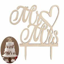 "Stylish ""Mr & Mrs"" Wood Wedding Cake Topper for Party Favors Dessert Decoration"