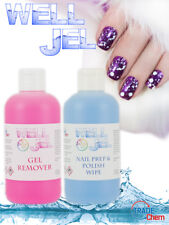 Well Jel Nail Polish Prep & Wipe with Gel Nail Polish Remover Twin Pack  Acetone
