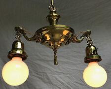 Antique Vintage 1920's Brass Aladdin 2 Arm Hanging Light Fixture Chandelier---A