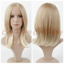 Women Blonde Wig Synthetic Hair Anime Cosplay Medium Long Wig Short Straight Wig