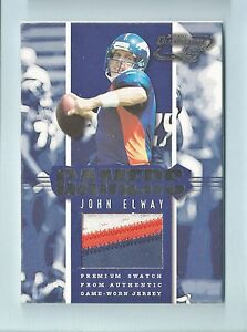 JOHN ELWAY 2000 QUANTUM LEAF GAMERS 3 COLOR GAME USED PATCH /25 BRONCOS