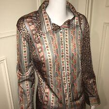 Vtg 60s 70s SILVER Womens STRETCH NYLON Mod Top DISCO Blouse Hippie shirt 40