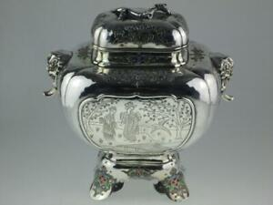 Large Antique 19th Century Japanese Solid Silver Enamel Koro Circa 1880 Signed
