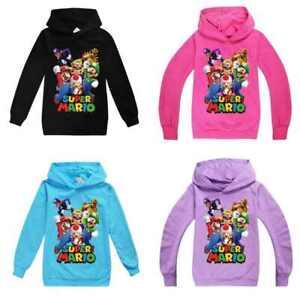 SUPER MARIO Cartoon Kids Hoodie Boys Girls Long Sleeve Hooded Casual Hoodie UK