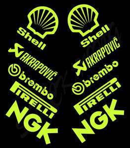 10 X Fluorescent Yellow Motorcycle Belly Sponsor Racing Vinyl Stickers Decals