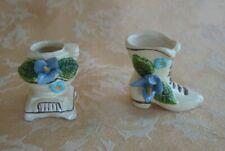 Vintage Ceramic Miniature Flower Pot and Flower Shoe Made in Sri Lanka