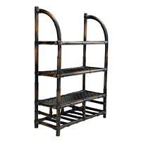 Vintage Ebonized Rattan Bamboo Wall Hanging Shelf