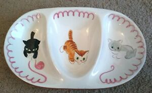 Vintage Stangl Pottery Kiddieware Kitten Capers Divided Plate  #3919 NJ USA