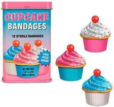 (12) Cupcake Shaped Bandages Retro Tin Adhesive Band Aid Sterile Dessert Girl