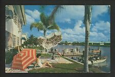 Florida FL chrome postcard Clearwater Beach, Sta N' Pla Motel boat dock
