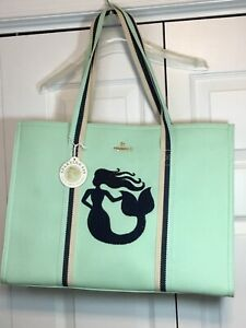 Spartina 449 Carry All Tote Beach Bag Tote Seafoam with Stripe Mermaid NEW