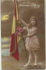WW1 LITTLE GIRL BELGIUM Honour Country Belgian FLAG Patriotic Colour PC c1915
