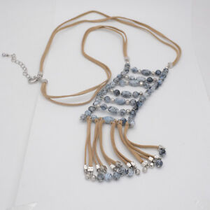 chico's signed jewelry blue resin beaded tassel leather chain necklace for women