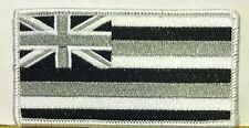 HAWAII Flag Iron-On Tactical Patch White, Gray & Black.  White Border #16