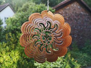 "RRP £12- 6""/15cm COPPER SUN SWIRL WIND SPINNER Sun Catcher Hook Iron Stop Garden"