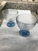 2 Anchor Hocking Manhattan Park Avenue Depression Glass compotes Blue Bases 4""