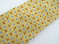Ermenegildo Zegna Gold and Blue Geometric Pattern Silk Tie MSRP $205