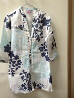 Monsoon Floral Blue and White Linen Tunic Top Shirt Size 8