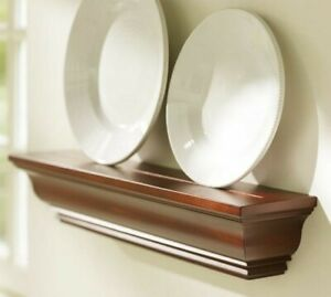 "Pottery Barn Mahogany Floating Shelf Plate Groove 24"" Crown Molding Ledge NEW"