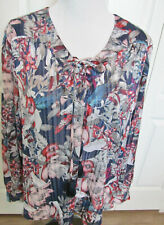 62301184d8a96a FADED GLORY SIZE EXTRA LARGE WOMEN S TOP BLOUSE RED BLUE PRINT LONG SLEEVES