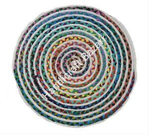 Foot & Floor Mat Cotton Round Handwoven Yoga Rug Multi Color Design Runner Door