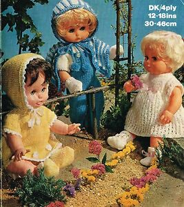 """Dolls clothes knitting pattern for 12""""-14""""-16""""&18""""doll. (V Doll 76)"""