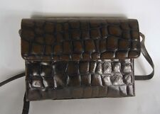 Picard BROWN crocodile print leather SATCHEL BAG HANDBAG retrò