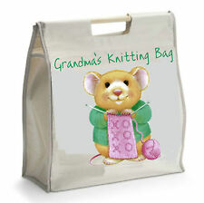 Personalised Knitting Bag with Wooden Handles - Ideal GIFT for Mother's Day