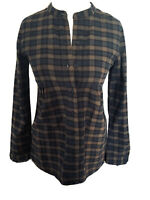 Jack Wills Vintage Checked Shirt Soft Fine Cotton Button Down Ruched Size 8