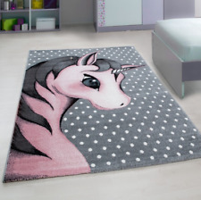Teppich Kids Kinderteppich Hochflorteppich Einhorn Mädchen Rosa