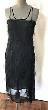 Vintage petite 1920s flapper girl tassel bead diamante little black dress 4 6
