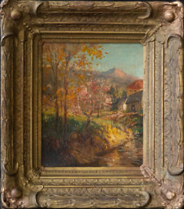 "Grant Wood (1891 - 1942) Iowa Artist Early Work Oil ""Autumn Landscape"""