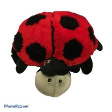 💚 Zoobie Pets Black Red Ladybug Fleece Blanket Stuffed Plush Animal Euc D7