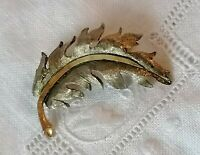 Vintage Leaf Brooch Pin Gold Tone Matt Textured Autumn 70s