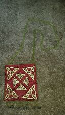 Celtic knot work beaded purse handbag with bells