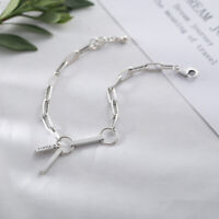 NEW Minimalist Retro S925 Sterling Silver Rolo Link Chain Bracelet Bead Bangle