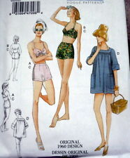 NEW 1960s VOGUE VINTAGE MODEL BRA SHORTS COVERUP SEWING PATTERN 6-8-10-12-14 UC