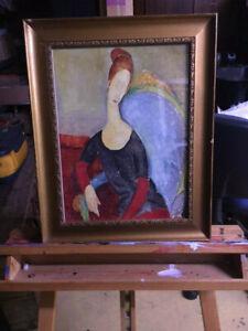 Modigliani VINTAGE FRAMED PAINTING PRINT in Glass Gold Frame
