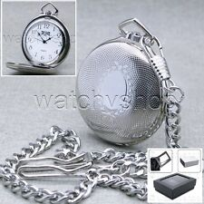 Silver Antique Style Classic Quartz Men Pocket Watch with Fob Chain Gift Box P87